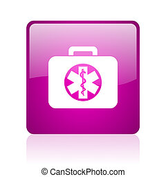 rescue kit violet square web glossy icon