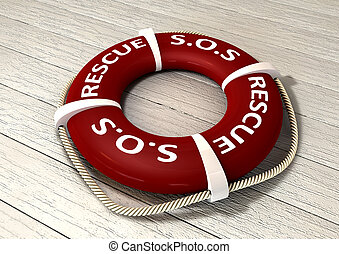 An red lifebuoy with the rope around it and the words sos and rescue on a sunbleached wooden background