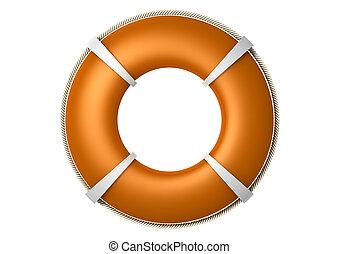 Rescue Lifebuoy Orange - An orange lifebuoy with the rope...