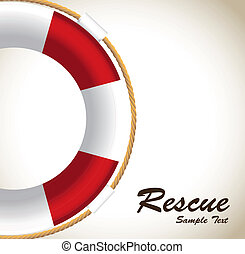 Rescue - lifeguards to rescue over white background vector...