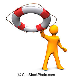Rescue Me - Orange cartoon character throws the lifebelt....