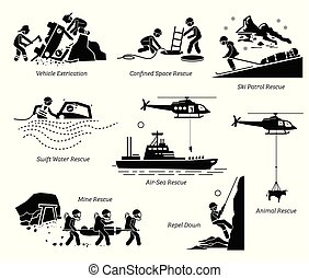 Rescue operations pictograms.