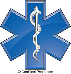 Rescue Paramedic Medical Logo - Illustration of a Star of...