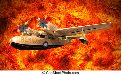 rescue plane flying over fire burning