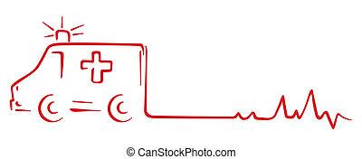 Rescue symbol - Ambulance and heart beat cardiogram shape