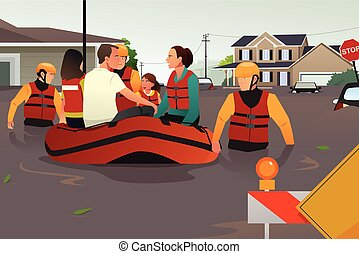 Rescue team helping people during flooding - A vector ...