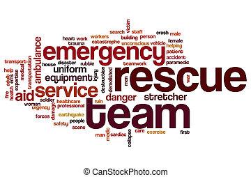 Rescue team word cloud concept