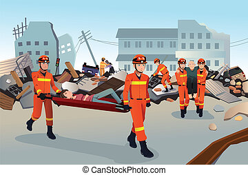 Rescue teams searching through the destroyed buildings - A...