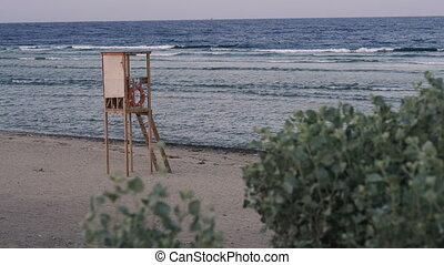 Rescue tower. Rescue tower stands on the beach