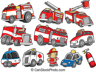 Rescue Vehicle Transportation Vector Illustration Set