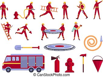 Rescuer icons set, cartoon style