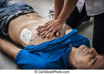 rescuer making cardiac massage