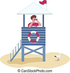 Rescuer with binoculars in lifeguard tower flat color vector...