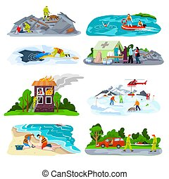 Rescuers team save people lives set of vector illustrations. Drowning first aid. Patient woman in unconscious. Heart attack victim rescue.