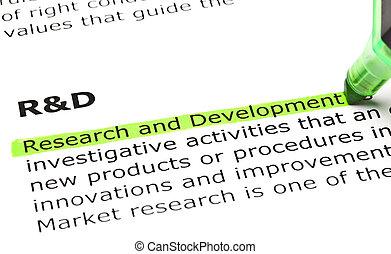 'research, そして, development', ハイライトした, 中に, 緑