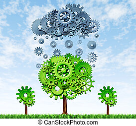 Growing Profits with industrial investing in new rechnologies represented by a green tree and a grey rain cloud made of gears and cogs showing the concept of success and growth of companies that invest in research and development.