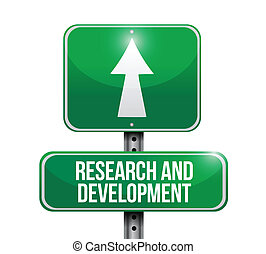 research and development road sign