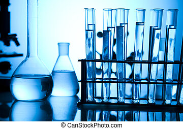 Research and experiments - Chemical laboratory glassware...
