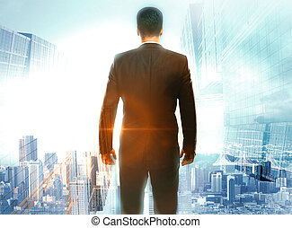 Research concept businessman in city