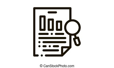 Research Document Icon Animation. black Research Document animated icon on white background