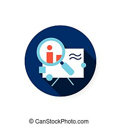 Research flat icon. Color illustration