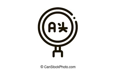 Research Foreign Language Icon Animation. black Education International Language And Translate, Magnifier Tool animated icon on white background
