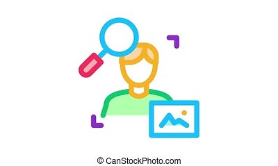 research human photo Icon Animation. color research human photo animated icon on white background