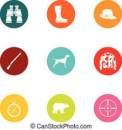 Research hunting icons set, flat style