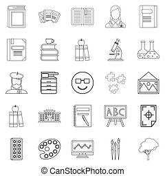 Research icons set, outline style