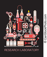 """Research Laboratory - Graphic design with text """"Research..."""