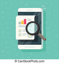Research report results on mobile phone vector illustration, flat cartoon quality data or audit statistics on smartphone, cellphone and growth graph or chart, good financial evaluation clipart