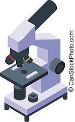 Research scientist microscope icon, isometric style