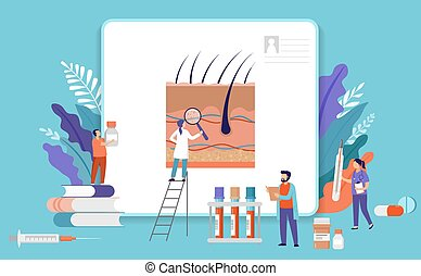 Research scientist. Science laboratory, chemistry scientists and clinical lab. Medical research items, clinical science laboratories experiments. Skin inspection - concept vector illustration