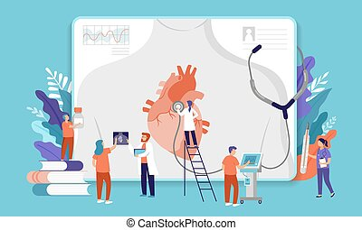Research scientist. Science laboratory, chemistry scientists and clinical lab. Medical research items, clinical science laboratories experiments. Heart, cardiac problem - concept vector illustration