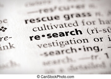 "Research - Selective focus on the word \""research\\\""...."