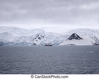 Research ship ancored at Admiralty Bay, King George Island, Antarctica. January 23, 2013 - Antarctic Peninsula