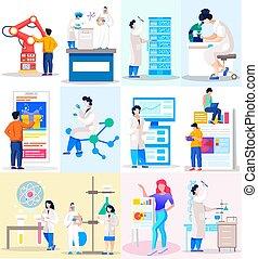 research., statistik, chemische , leiten, laboratory., finanziell, versuch, wissenschaftler, analysieren