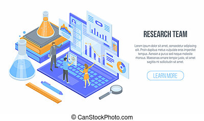 Research team concept background, isometric style