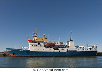 Research Vessel - Research vessel in port on a summer day