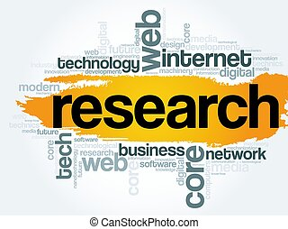 Research word cloud, technology concept - Research word...