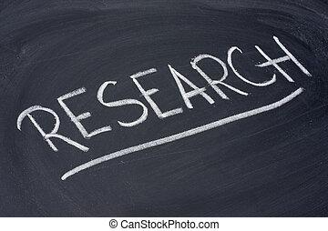 research word on blackboard