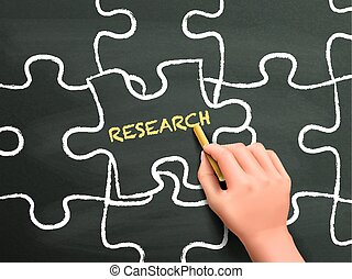 research word written on puzzle piece by hand over chalkboard