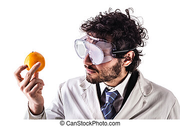 researcher and orange