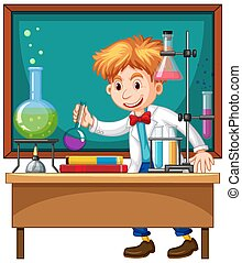 Researcher experiment in the laboratory