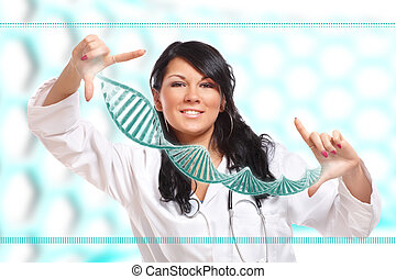 Researcher holding up a DNA strand in the laboratory -...