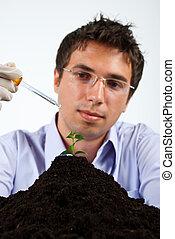 Researcher man in laboratory