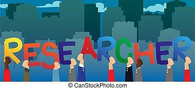 researcher., mot, mains, divers, tenue