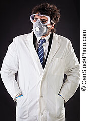 researcher with protective gear