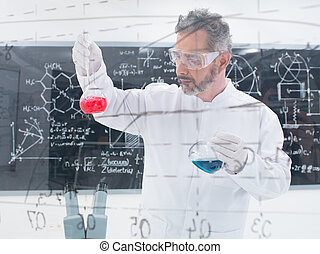 close-up of scientist conducting a chemical laboratory experiment with colorful liquids and a blackboard with formulas on the background