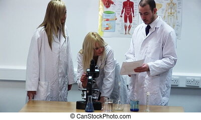 Researching in a lab